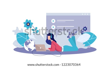 Vector illustration concept of entertainment,music applications, playlist, online songs, radio stations. Creative flat design for web banner, marketing material, business presentation,online marketing