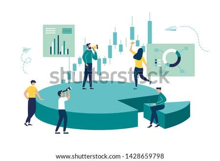 Vector illustration, Concept of financial management, Statistics and business report, little people as puzzles collect infographics Foto stock ©