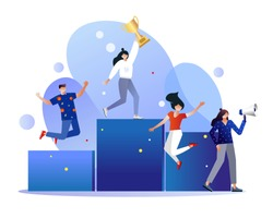 Vector illustration concept of group of business people character holding trophy and get reward standing on podium and celebrate, can use for landing page, web, presentation, flyer, banner. Character