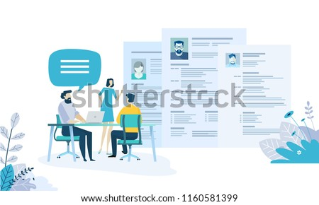 Vector illustration concept of human resources, career, employment, CV, job search, professional skill. Creative flat design for web banner, marketing material, business presentation.