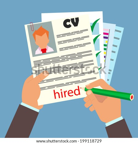 vector illustration concept of human resources management finding professional staff head hunter job employment issue and analyzing personnel resume