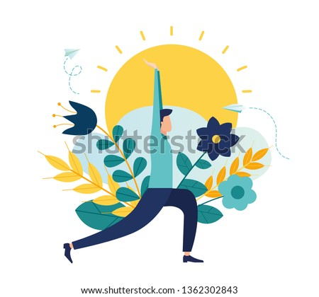 Vector illustration, concept of meditation during working hours, break, health benefits of the body, mind and emotions, thought process - Vector