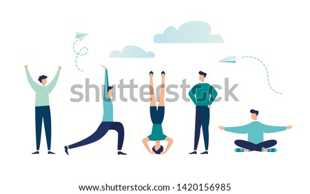 Vector illustration, concept of meditation during working hours, break, health benefits of the body, mind and emotions, thought process - Vector - Vector