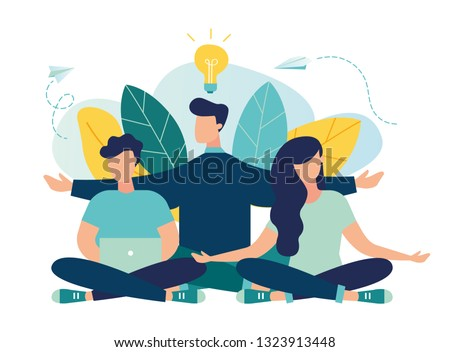 Vector illustration, concept of meditation, health benefits for body, mind and emotions, thought process, start and search for ideas - vector