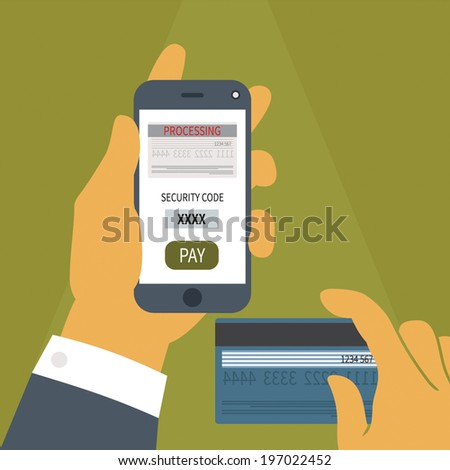 Vector illustration concept of mobile payment application from credit bank card on smartphone screen in man hand.