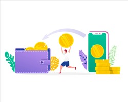 vector illustration concept of money transfer with wallet and smartphone with people flat character, online payment, can be use for landing page, web, ui, banner, template, background, flyer, poster