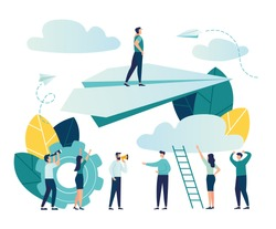 Vector illustration, concept of reaching the goal, a man rises up on a paper plane, the people downstairs support him and rejoice vector
