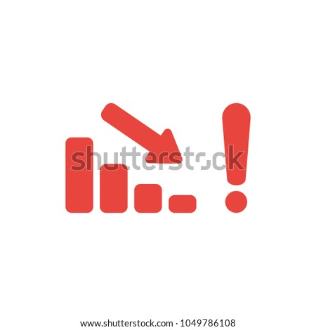 Vector illustration concept of red sales bar chart graph arrow moving down with exclamation mark icon.