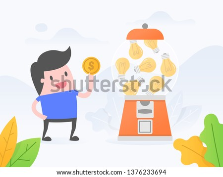 Vector illustration concept of selling ideas. young man buying idea from idea vending machine.