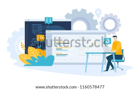 Vector illustration concept of SEO. Creative flat design for web banner, marketing material, business presentation, online advertising.