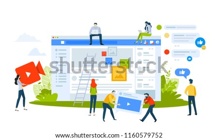 Vector illustration concept of social media apps and services. Creative flat design for web banner, marketing material, business presentation, online advertising. #1160579752
