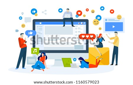 Vector illustration concept of social media. Creative flat design for web banner, marketing material, business presentation, online advertising.