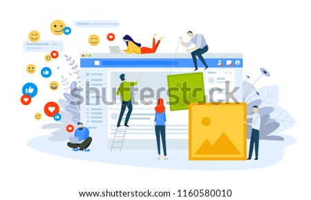 Vector illustration concept of social network. Creative flat design for web banner, marketing material, business presentation, online advertising. #1160580010