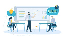 Vector illustration concept of team management . Creative flat design for web banner, marketing material, business presentation, online advertising.