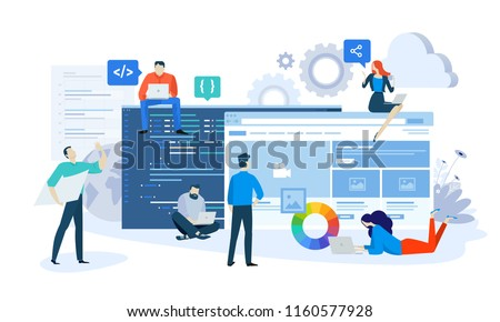 Vector illustration concept of website and app design and development. Creative flat design for web banner, marketing material, business presentation, online advertising.
