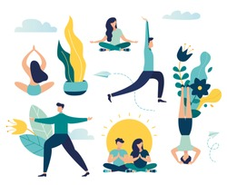 Vector illustration, concept of working hours meditation, break, steam yoga, health benefits of the body, mind and emotions, thought process - vector - vector