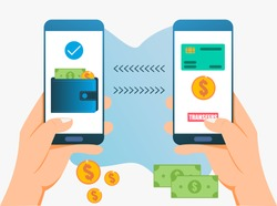 vector illustration concept Online money transfer with smartphone for web, poster, banner.