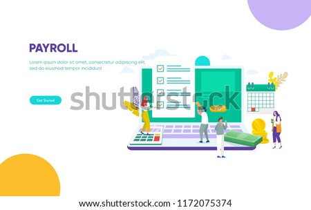 vector illustration concept Payroll, Salary payment, happy people get money from company , can use for, landing page, template, ui, web, mobile app, poster, banner, flyer,