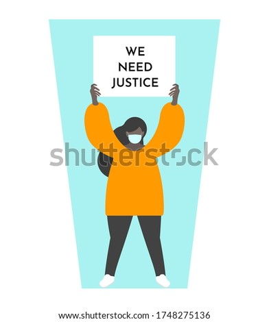 Vector illustration concept with dark skin girl holding broadsheet 'We need justice' on peaceful demonstration. Fighting for humanity rights when man feel mass incarceration and police brutality Stock photo ©