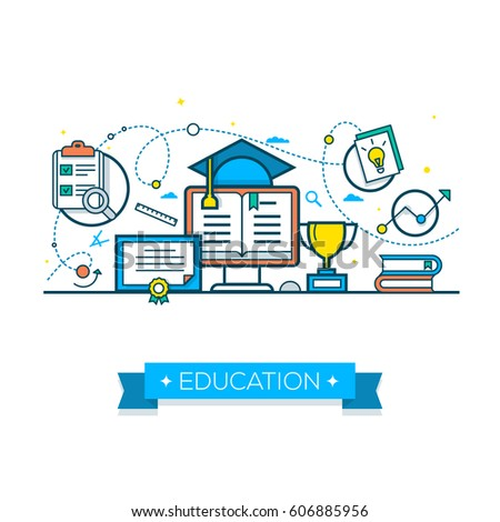 Vector illustration concepts of education and learning. Online Education Concept. Flat Design Vector Illustratio.