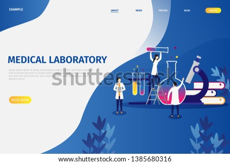 Vector illustration concepts of medical laboratory research, people doing research activities, can be used for, landing pages, mobile applications, templates, UI, banners, webs, posters, leaflets
