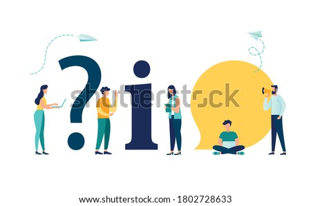 Vector illustration, conceptual illustration of people, online communication, getting help information, answering questions