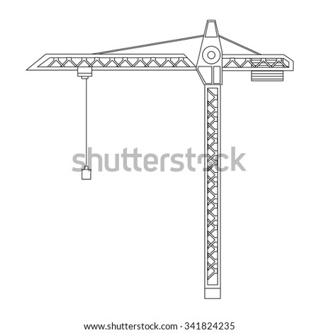 Vector illustration construction crane tower outline drawings. Crane flat icon. Tall heavy iron frame crane