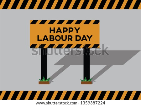 Vector illustration Construction workers board on road for labour day wishes every 1st may