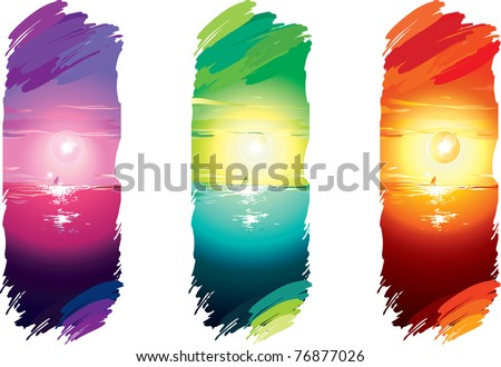 vector illustration contains the image color vertical banners with the seascape - stock vector