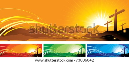 vector illustration contains the image of a banner with crosses