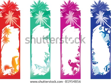 vector illustration contains the image of Color tropical ocean banners - stock vector