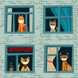Vector illustration coronavirus 2019-nCoV. Cats stayed at home, did not go for a walk due to quarantine. Vector pattern with cats