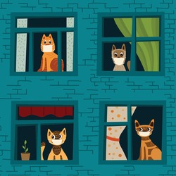 Vector illustration coronavirus 2019-nCoV. Cats stayed at home, did not go for a walk due to quarantine. Vector seamless pattern with cats