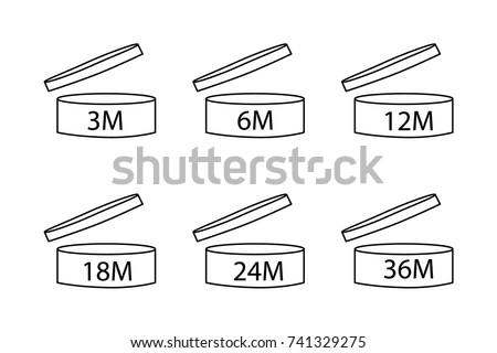 Vector illustration cosmetics symbol design. Period of validity after opening icon. Expiration date after product opening symbols. Shelf life sign for label of product.