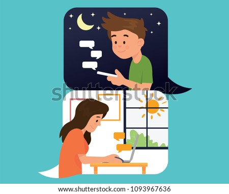 vector illustration couple boy and girl have long distance relationship in different time, day and night