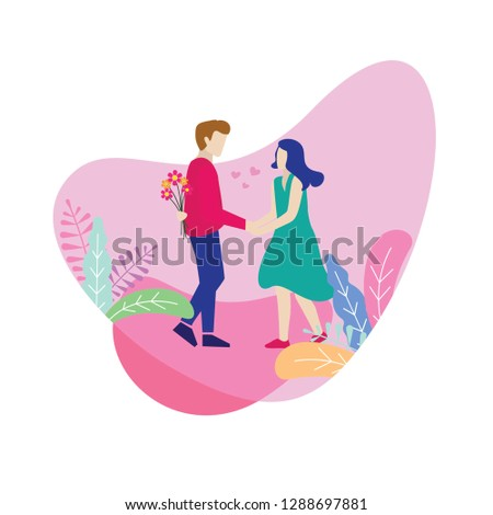 Vector illustration couple, romance lovers poster, valentine banner website, greeting card template