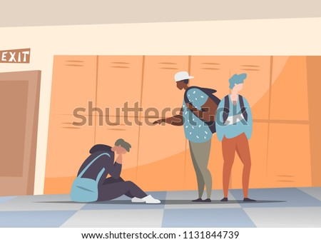 Vector illustration couple students bullying and suppress the guy sitting on the floor. Concept discrimination, racism and negative communication in school and society. Situations in school corridor