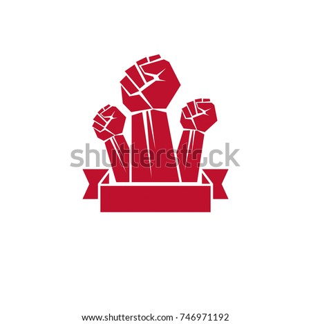 Vector illustration created with clenched fist of a strong man. People demonstration, fighting for their rights and freedom.
