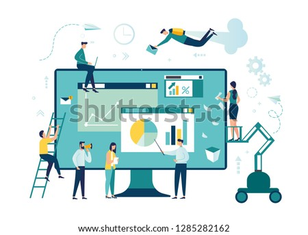 Vector illustration. Creative teamwork. People are building a business project on the Internet. The monitor screen is a building site. Collective performance of tasks. - Vector