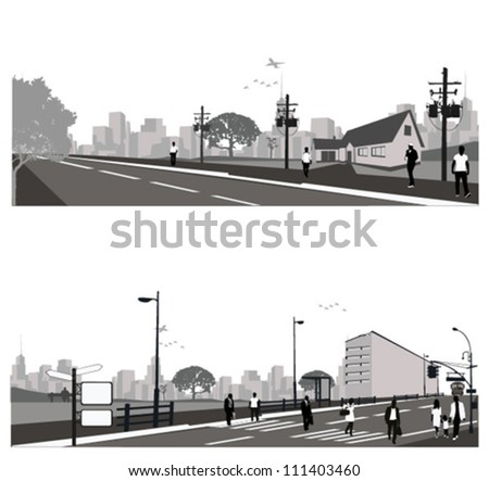 Vector illustration.Crowd of people walking on a street.