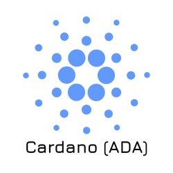 Vector illustration crypto coin icon on isolated white background Cardano (ADA). Name of the crypto currency and the short trade name on the exchange. Digital currency