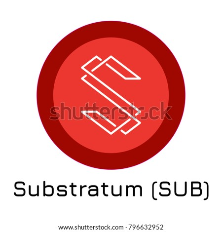 Vector illustration crypto coin icon on isolated white background Substratum (SUB). Name of the crypto currency and the short trade name on the exchange. Digital currency