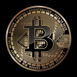 Vector illustration. Crypto currency. Bitcoin. Concept e-commerce. Golden coin on black background. Suitable for use logos, print products, pages and web-decor or other designs.