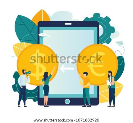 Vector illustration, currency converter, online money transfer, euro and dollar coins, mobile banking, finance, digital money market