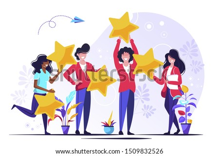 Vector illustration, Customer reviews rating, Different people give a review rating and feedback, Support for business satisfaction.