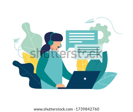 Vector illustration, customer service, hotline operator advises customer, online global technical support 24/7, customer and operator vector