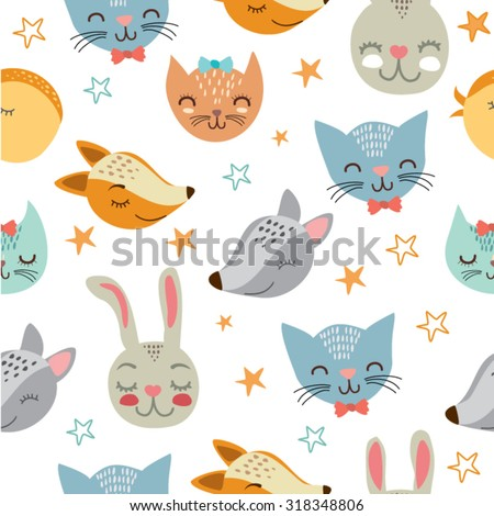 vector illustration. cute animals. cats, foxes, wolves, birds and rabbits. pattern with animals.