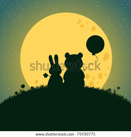 Vector illustration, cute baby animals under moonlight, card concept.
