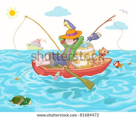Vector illustration, cute boy fishing, cartoon concept. - stock vector