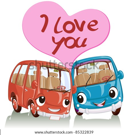 Vector illustration, cute cars full of love, card concept, white background.